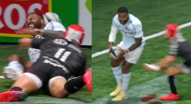 Watch: Virimi Vakatawa's in-goal howler costs Racing 92 in thrilling Top 14 encounter with Toulon
